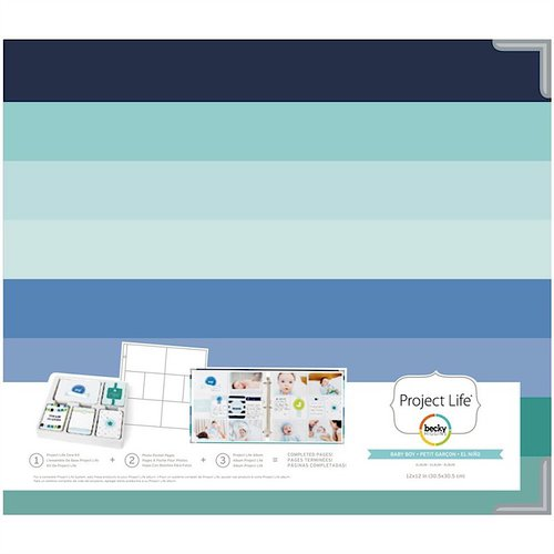 Becky Higgins - Project Life - Baby Boy Edition Collection - Album - 12 x 12 D-Ring - Matte Paper
