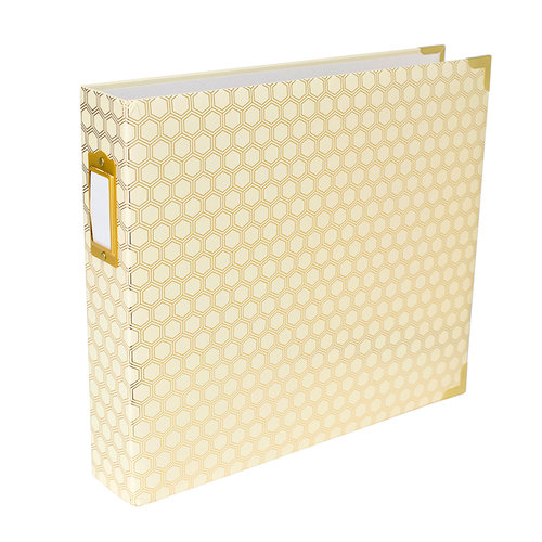 Becky Higgins - Project Life - Album - 12 x 12 D-Ring - Honeycomb - Cream and Gold