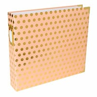 Becky Higgins - Project Life - Album - 12 x 12 D-Ring - Blush with Gold Dots