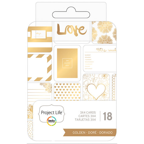 Becky Higgins - Project Life - 3 x 4 - Theme Cards - Golden
