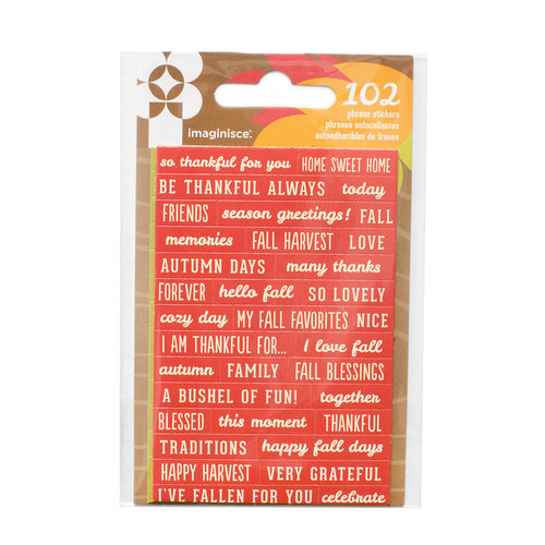 Imaginisce - Give Thanks Collection - Cardstock Stickers - Phrases