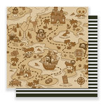 Imaginisce - Par-r-rty Me Hearty Collection - 12 x 12 Double Sided Paper - Treasure Map