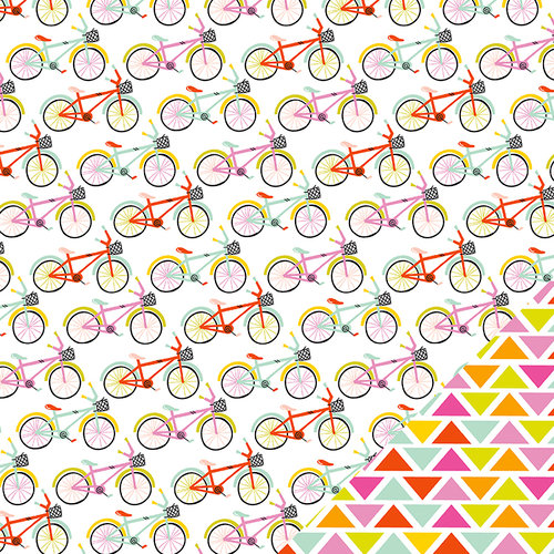 Imaginisce - Sunny Collection - 12 x 12 Double Sided Paper - Summer Ride