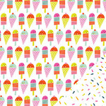 Imaginisce - Sunny Collection - 12 x 12 Double Sided Paper - Ice Cream Parlor