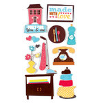 American Crafts - Remarks - 3 Dimensional Stickers with Glitter Accents - Teapot