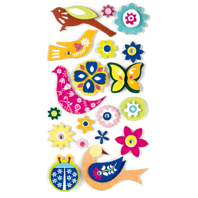 American Crafts - Remarks - 3 Dimensional Stickers with Glitter Accents - Holland, CLEARANCE