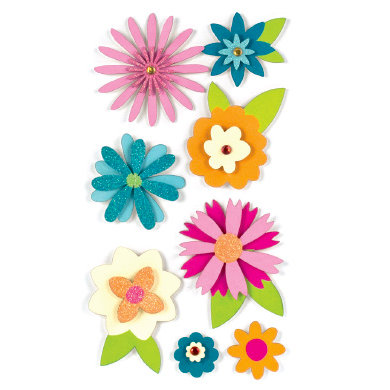 American Crafts - Remarks - 3 Dimensional Stickers with Glitter Accents - Petals, CLEARANCE