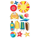 American Crafts - Heat Wave Collection - Remarks - 3 Dimensional Stickers with Glitter Accents - SPF, CLEARANCE