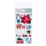 American Crafts - Dear Lizzy Christmas Collection - Remarks - 3 Dimensional Stickers - Joy - Accents