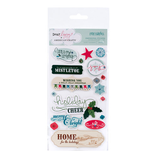 American Crafts - Dear Lizzy Christmas Collection - Remarks - 3 Dimensional Stickers - Jingle - Phrases