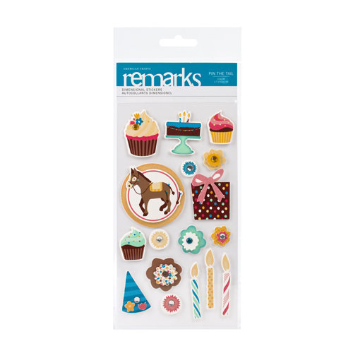 American Crafts - Confetti Collection - Remarks - 3 Dimensional Stickers - Pin the Tail Accents