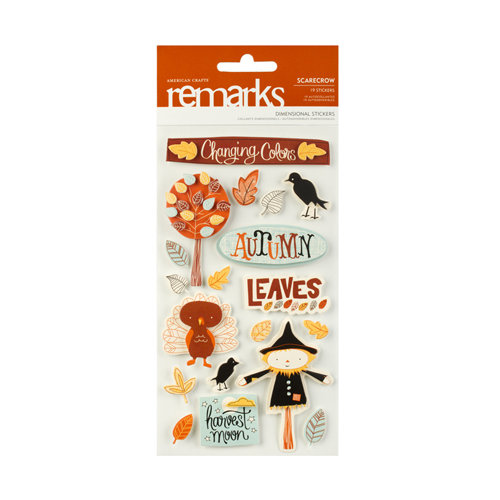 American Crafts - Nightfall Collection - Halloween - Remarks - 3 Dimensional Stickers - Scarecrow