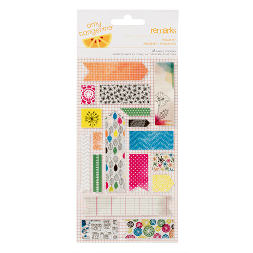 American Crafts - Amy Tangerine Collection - Sketchbook - Remarks - Fabric Stickers - Pigment