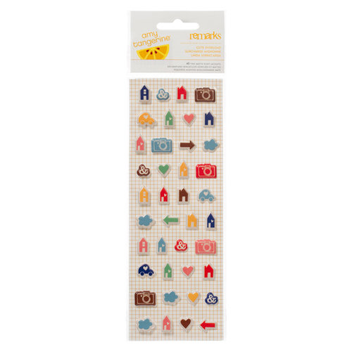 American Crafts - Amy Tangerine Collection - Ready Set Go - Remarks - Tiny Matte Puffy Stickers - Cute Overload