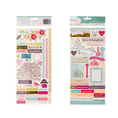American Crafts - Dear Lizzy 5th and Frolic Collection - Stickers with Foil Accents - Accents Borders and Phrases