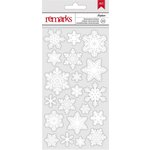American Crafts - All Wrapped Up Collection - Christmas - 3 Dimensional Stickers - Snowflakes - White