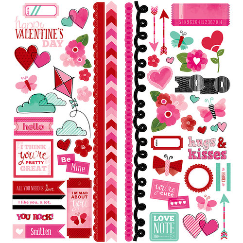 American Crafts Paper - XOXO Collection - Remarks - Sticker Sheet - Accent and Phrase