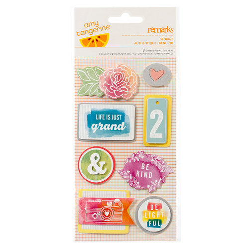 American Crafts - Amy Tangerine Collection - Yes, Please - Remarks - 3 Dimensional Stickers - Genuine