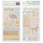 American Crafts - Dear Lizzy Lucky Charm Collection - Thickers Phrases - Trinket - Neutrals