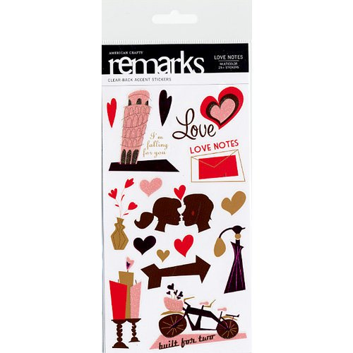 American Crafts - I Heart You Collection - Remarks - Clear-Back Accent Stickers - Love Notes - Multicolor, CLEARANCE
