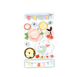 American Crafts - Dear Lizzy Spring Collection - Remarks - 3 Dimensional Stickers with Glitter Accents - Flutter, CLEARANCE