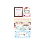 American Crafts - Dear Lizzy Spring Collection - Remarks - 3 Dimensional Stickers with Glitter Accents - Feather Phrases