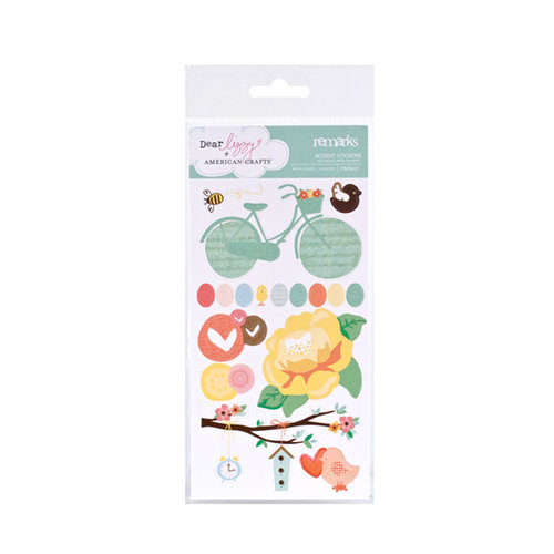 American Crafts - Dear Lizzy Spring Collection - Remarks - Accent Stickers with Glitter - Frolic, CLEARANCE