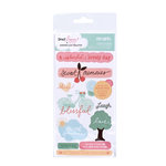 American Crafts - Dear Lizzy Spring Collection - Remarks - Phrase Stickers with Glitter Accents - Fancy, CLEARANCE