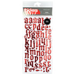 American Crafts - Thickers - Tinsel Foil Chipboard Alphabet Stickers - Cherry, CLEARANCE