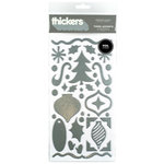 American Crafts - Thickers - Tinsel Accents - Foil Chipboard Stickers - Silver, CLEARANCE