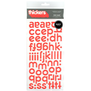American Crafts - Puffy Thickers - City Slicker Letter Stickers - Chit Chat - Grapefruit