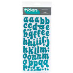 American Crafts - Thickers - Chipboard Glitter Letter Stickers - Tiara - Aqua, CLEARANCE