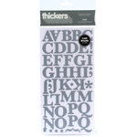 American Crafts - Thickers - Chipboard Alphabet Stickers - Text - Ash