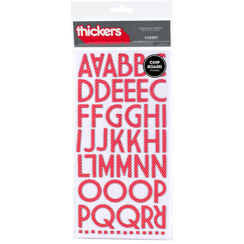 American Crafts - Thickers - Patterned Chipboard Alphabet Stickers - Cherry - Cherry, CLEARANCE