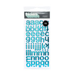 American Crafts - Thickers - Foil Chipboard Alphabet Stickers - Cinnamon - Robin's Egg, CLEARANCE