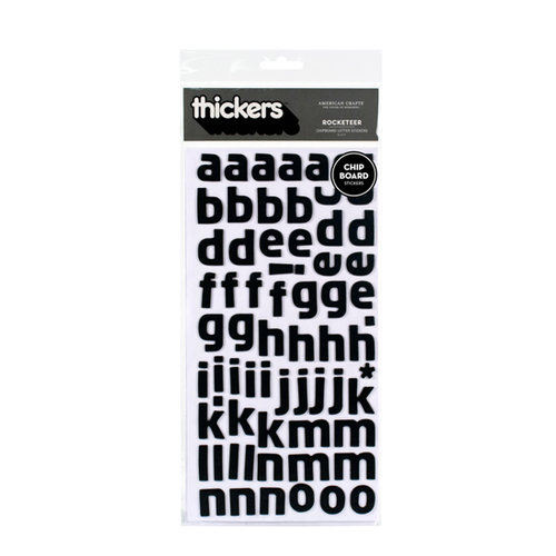 American Crafts - Thickers - Chipboard Alphabet Stickers - Rocketeer - Black, BRAND NEW