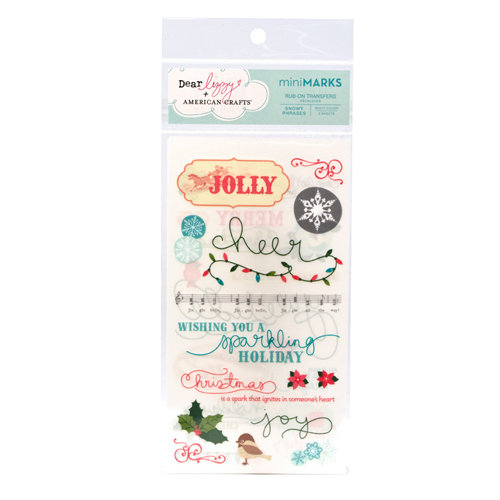 American Crafts - Dear Lizzy Christmas Collection - MiniMarks - Rub On Transfers - Snowy - Phrases, CLEARANCE