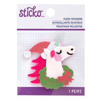 EK Success - Sticko - Christmas - Fuzzy Stickers - Embroidered - Unicorn