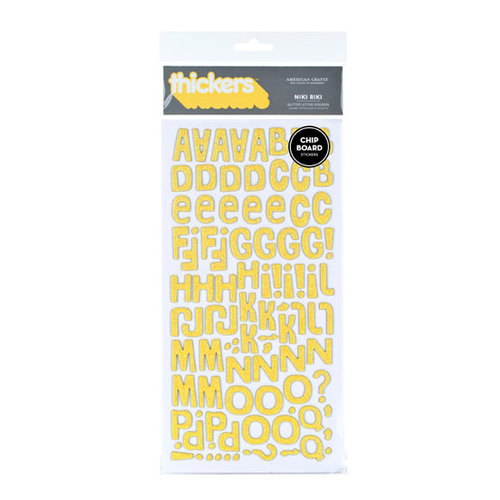 American Crafts - Heat Wave Collection - Thickers - Glitter Chipboard Alphabet Stickers - Niki Riki - Yellow, CLEARANCE