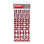 American Crafts - Thickers - Foil Chipboard Number Stickers - Tinsel  - Cherry, CLEARANCE