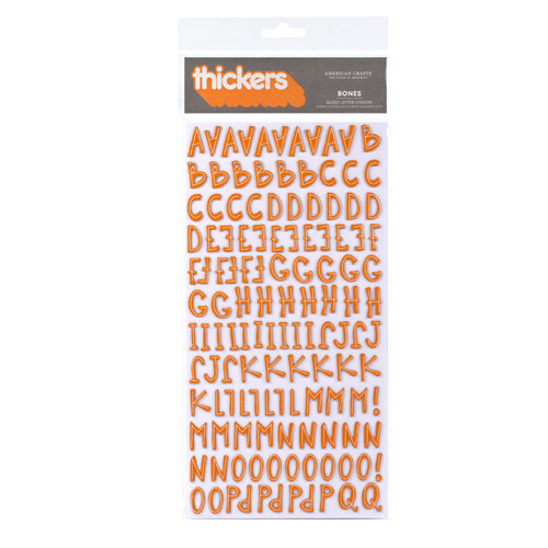 American Crafts - Boo Collection - Halloween - Thickers - Glossy Printed Chipboard Alphabet Stickers - Bones - Apricot, CLEARANCE