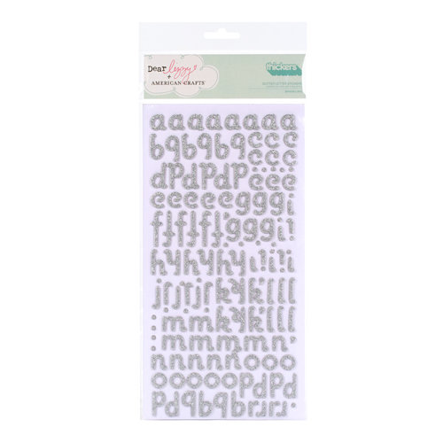 American Crafts - Dear Lizzy Christmas Collection - Thickers - Glittered Chipboard Stickers - Sparkling - Silver, CLEARANCE