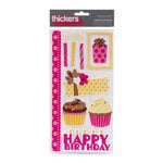 American Crafts - Confetti Collection - Thickers - Glitter Puffy Stickers - Cheer Accents - Pink