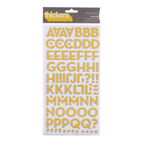 American Crafts - Margarita Collection - Thickers - Glitter Chipboard Alphabet Stickers - Macaw - New Yellow