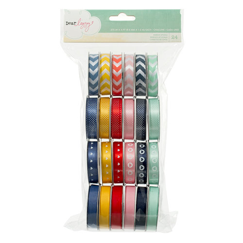 American Crafts - Dear Lizzy Lucky Charm Collection - Ribbon Value Pack - 24 Spools