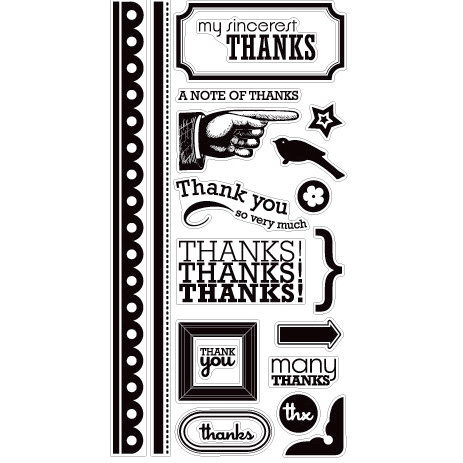 American Crafts - Clear Acrylic Stamp Set - Thanks - Large, CLEARANCE