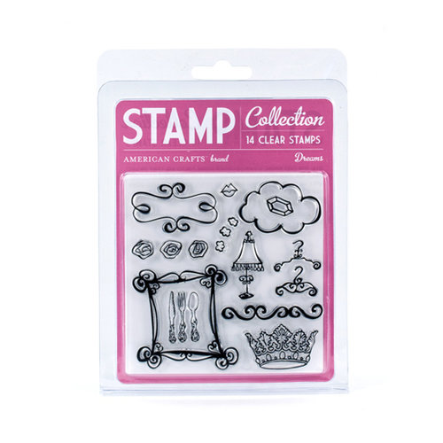 American Crafts - Blue Skies Collection - Clear Acrylic Stamp Set - Dreams - Small, CLEARANCE