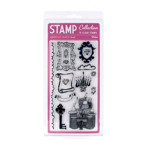 American Crafts - Blue Skies Collection - Clear Acrylic Stamp Set - Wishes - Large