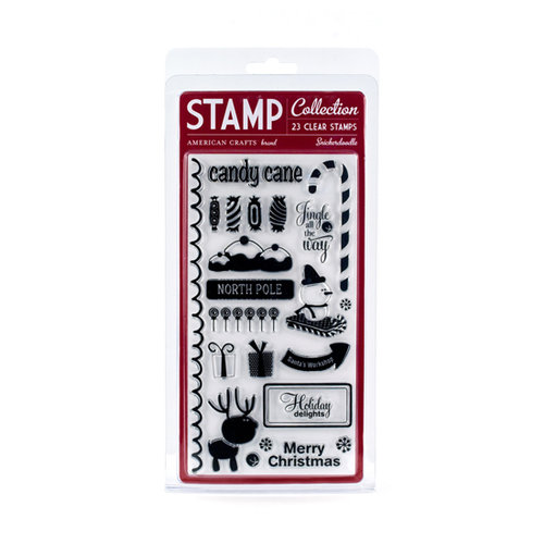 American Crafts - Merrymint Collection - Christmas - Clear Acrylic Stamp Set - Snickerdoodle - Large, CLEARANCE