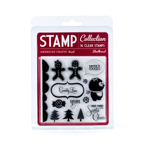American Crafts - Merrymint Collection - Christmas - Clear Acrylic Stamp Set - Shortbread - Small, CLEARANCE